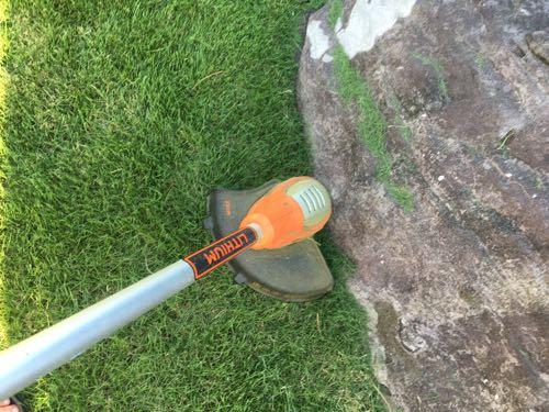 ナイロンカッターで岩のキワを刈っている