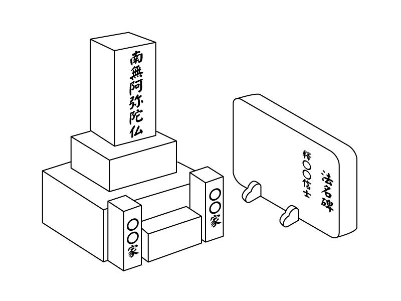 浄土真宗のお墓のイラスト
