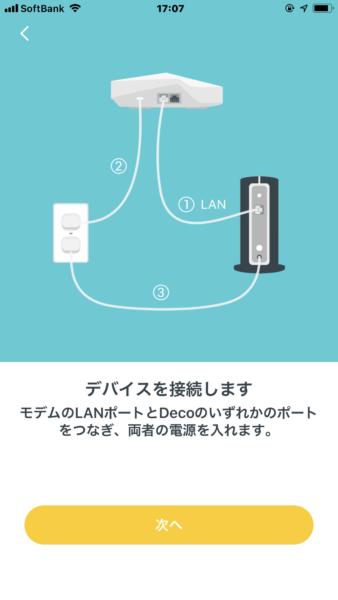モデムと電源を接続する指示画面