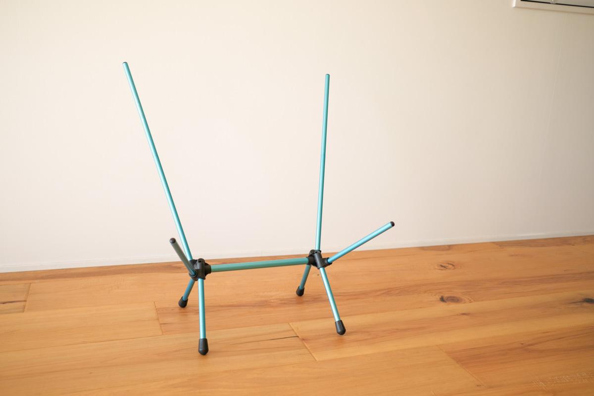 Helinox チェアゼロの脚部パーツを組み立てたところ