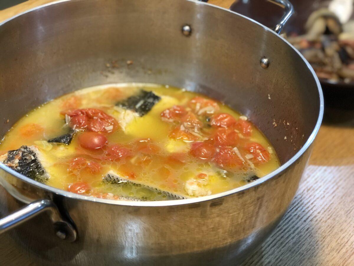 TSBBQライトステンレスダッチオーブンで作ったアクアパッツァ